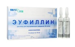 Ампулы эуфиллина особенности применения